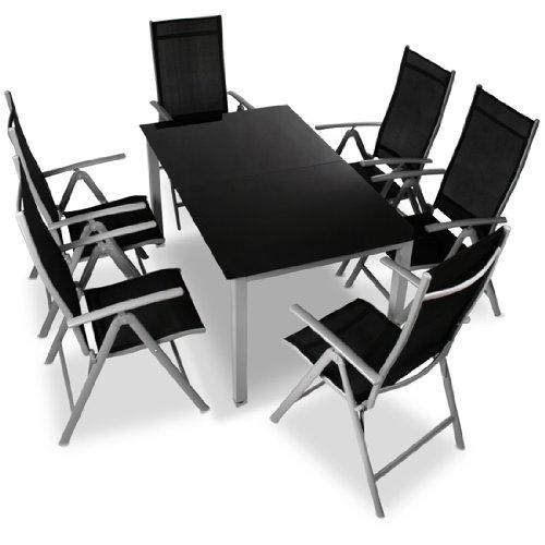 miadomodo alu sitzgarnitur gartengarnitur gartenmoebel 7 teilig tisch und stuehle aus aluminium mit farbwahl - Miadomodo Alu-Sitzgarnitur Gartengarnitur Gartenmöbel 7-teilig (Tisch und Stühle) aus Aluminium mit Farbwahl