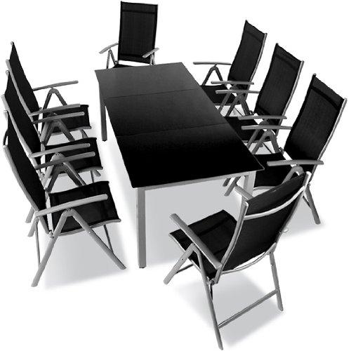 9 teilige gartengarnitur alu sitzgarnitur sitzgruppe mit glastisch komfortable aluminium gartenmoebel hellgrau - 9-teilige Gartengarnitur Alu Sitzgarnitur, Sitzgruppe mit Glastisch, komfortable Aluminium Gartenmöbel hellgrau