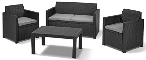 allibert 219851 lounge set merano 2 sessel 1 sofa 1 tisch rattanoptik kunststoff graphit - Allibert 219851 Lounge Set Merano (2 Sessel, 1 Sofa, 1 Tisch), Rattanoptik, Kunststoff, graphit