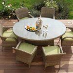 Aston Garten-Sitzgruppe, Rattan, 6 Stühle, Tisch, Oval, Kissen grün
