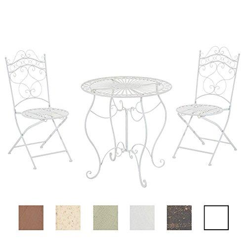 clp garten sitzgruppe indra metall eisen design antik tisch rund o 70 cm weiss - CLP Garten-Sitzgruppe INDRA, Metall (Eisen) Design antik, Tisch rund Ø 70 cm weiß