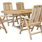 KMH®, Gartensitzgruppe mit ausziehbarem Gartentisch für 6 Personen (ECHT TEAK) (#102205)