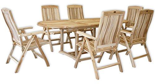 kmh gartensitzgruppe mit ausziehbarem gartentisch fuer 6 personen echt teak 102205 - KMH®, Gartensitzgruppe mit ausziehbarem Gartentisch für 6 Personen (ECHT TEAK) (#102205)