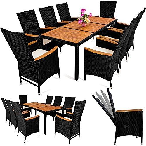 polyrattan sitzgruppe 8 1 neigbaren r ckenlehnen tisch aus akazienholz gartenm bel gartenset. Black Bedroom Furniture Sets. Home Design Ideas