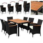Rattan Sitzgruppe mit Holztisch und Holz Armlehnen Stühle Stapelbar