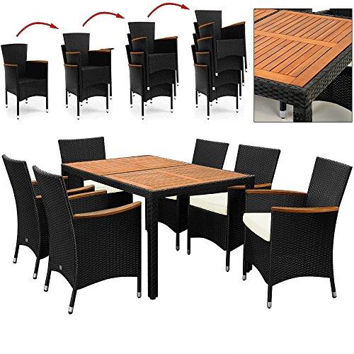 rattan sitzgruppe mit holztisch und holz armlehnen st hle stapelbar gartensitzgruppe. Black Bedroom Furniture Sets. Home Design Ideas