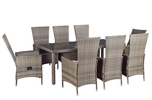 ArtLife Polyrattan Sitzgruppe Rimini Plus 9 teilig grau meliert Gartenmoebel Set 500x330 - ArtLife Polyrattan Sitzgruppe Rimini Plus 9-teilig grau-meliert | Gartenmöbel Set mit Tisch, 8 Stühlen & Kissen | graue Bezüge | Rattan Balkonmöbel
