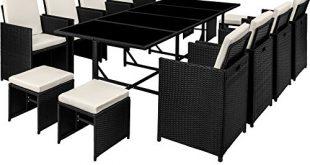 TecTake Poly Rattan 841 Sitzgruppe 8 Stuehle 4 Hocker 310x165 - TecTake Poly Rattan 8+4+1 Sitzgruppe | 8 Stühle 4 Hocker 1 Tisch | inkl. Schutzhülle & Edelstahlschrauben | - Diverse Farben - (Schwarz | Nr. 402831)