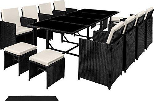 TecTake Poly Rattan 841 Sitzgruppe 8 Stuehle 4 Hocker 500x330 - TecTake Poly Rattan 8+4+1 Sitzgruppe | 8 Stühle 4 Hocker 1 Tisch | inkl. Schutzhülle & Edelstahlschrauben | - Diverse Farben - (Schwarz | Nr. 402831)