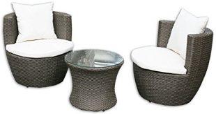 KMH® 3 teilige Gartensitzgruppe Felipa inklusive Sesselauflage und Kissen Farbkombination 310x165 - KMH®, 3-teilige Gartensitzgruppe *Felipa* inklusive Sesselauflage und Kissen - Farbkombination: braun/Weiss (#106095)