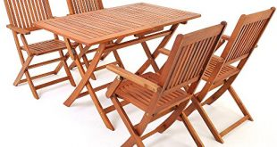 Deuba Sitzgruppe Sydney 41 FSC® zertifiziertes Akazienholz 5 TLG Tisch klappbar Sitzgarnitur 310x165 - Deuba Sitzgruppe Sydney 4+1 FSC®-zertifiziertes Akazienholz 5-TLG Tisch klappbar Sitzgarnitur Holz Garten Möbel Set