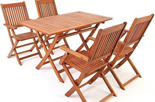 Deuba Sitzgruppe Sydney 41 FSC® zertifiziertes Akazienholz 5 TLG Tisch klappbar Sitzgarnitur 500x330 - Deuba Sitzgruppe Sydney 4+1 FSC®-zertifiziertes Akazienholz 5-TLG Tisch klappbar Sitzgarnitur Holz Garten Möbel Set