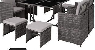 TecTake 403056 Poly Rattan Sitzgruppe Cube 4 Stuehle 1 Tisch 310x165 - TecTake 403056 Poly Rattan Sitzgruppe Cube, 4 Stühle 1 Tisch 4 Hocker, mit Schutzhülle & Edelstahlschrauben, als Würfel verstaubar, grau