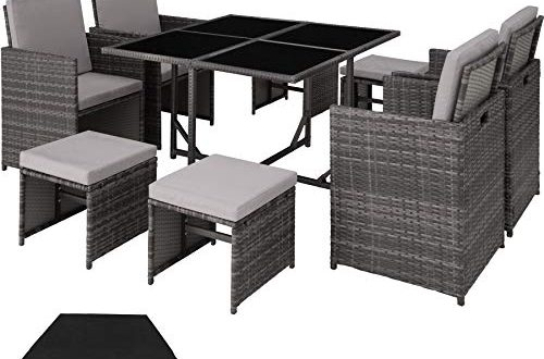 TecTake 403056 Poly Rattan Sitzgruppe Cube 4 Stuehle 1 Tisch 500x330 - TecTake 403056 Poly Rattan Sitzgruppe Cube, 4 Stühle 1 Tisch 4 Hocker, mit Schutzhülle & Edelstahlschrauben, als Würfel verstaubar, grau